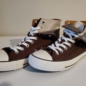 Brown Converse Double Tounge Hightops
